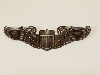 "WWII US Army 3"" Sterling Pilot Wings Pinback"