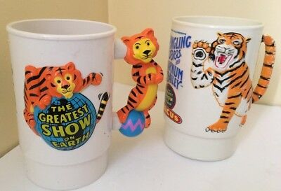 1988 Ringling Bros Barnum And Bailey Circus 3D Tiger Plastic Mugs Cup Vintage