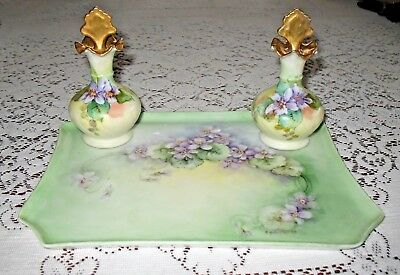 Vintage Signed Hand Painted Violets Dresser Tray with Matching Perfume Bottles