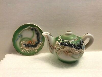 "Vintage ""Ming Green"" Japan Dragonware Raised Moriage Mini Teapot & Plate - CUTE!"