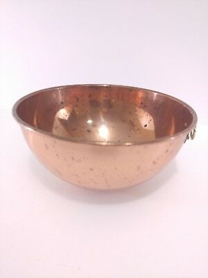 """VTG/Antique FRENCH CHOCOLATE Mixing BOWL Copper w/ BRASS RING 8.25"""""""