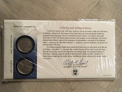 1999 Delaware First Day Cover - Opened Cello -  Q10 - P & D Mint  State Quarter