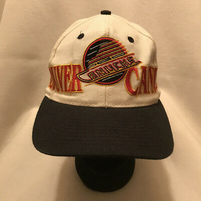 6c9737b68517fa Vintage Vancouver Canucks Skate Logo Spell Out The Game Snapback Hat Cap  *stain