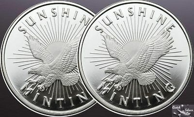 Lot of 2~1 oz .999 Silver Sunshine Minting round New Uncirculated 2 oz's Silver
