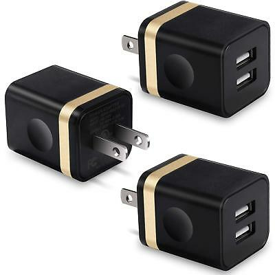 USB Wall Charger 3-Pack 2.1A/5V Dual Port USB Plug Power Adapter