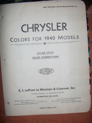 Vintage 1940 Chrysler Models  Paint /color Chips Dupont