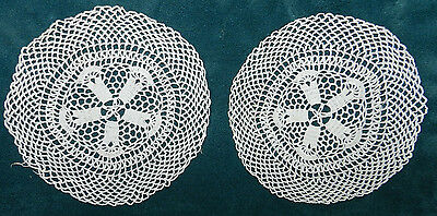 Pair Of Nice Old Antique Vintage Matching Handmade Doilies! #3A As Is