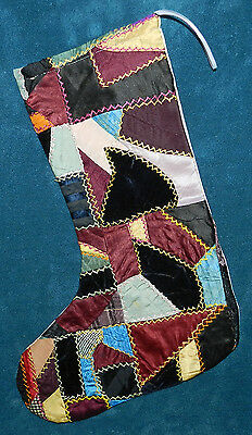 Awesome Antique Vintage Crazy Quilt Christmas Stocking! Cutter Quilt Cq2