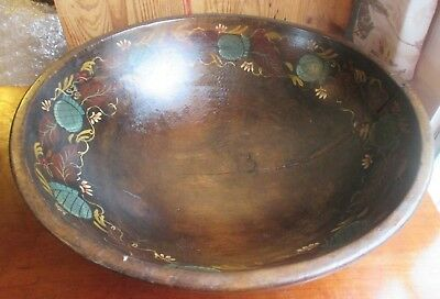 Antique Mid 1800's Butter Dough Bowl Tole Painted From TWIN TRUNK WALNUT Tree