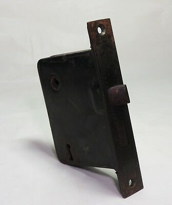 Antique Old Cast Iron MORTISE DOOR Box LOCK SET NO KEY copper flash old patina