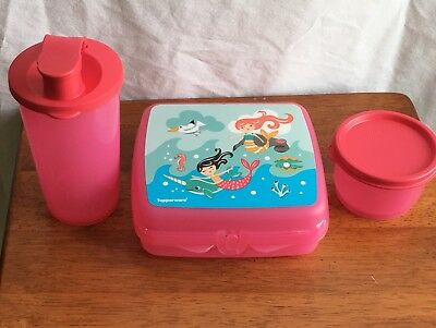 Tupperware Child 3 Piece Mermaid Lunch Set Sandwich Keeper Tumbler Snack Cup NEW