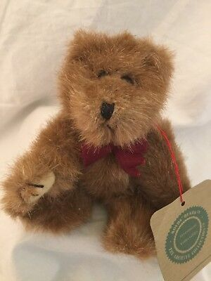 """6"""" Boyds Investment Bear EDEN Tan Bear with Burgundy Bow Tie Jointed w/tags"""