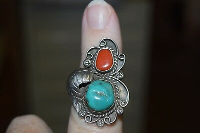 Estate Jewelry Ring Navajo GS George Irene Sandoval Turquoise & Coral