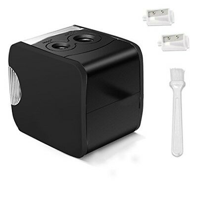 Electric Pencil Sharpener Automatic Black USB or Battery Home Office Kid Student