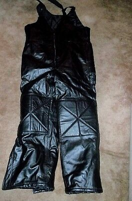Black Snowmobile Leather Bibs Size Mens 3Xlarge Winter Clothing Apparel Gear