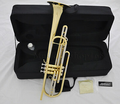 Professional 3 piston Gold lacquer bass trumpet horn Bb key with case