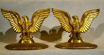 Pair of Eagles with Wings Spread Gilt Finish Brass Bronze Bookends