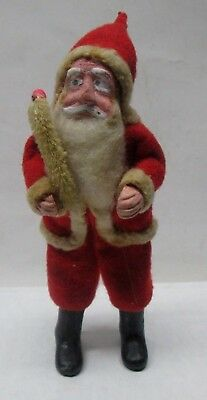 "Vintage Composition Santa Claus Figure 4 1/2"" Tall  Wire Body Nice No Reserve"