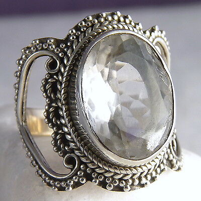 GRANULATED LACE Vintage Ring Size US 7.25 SILVERSARI 925 Silver + CRYSTAL QUARTZ