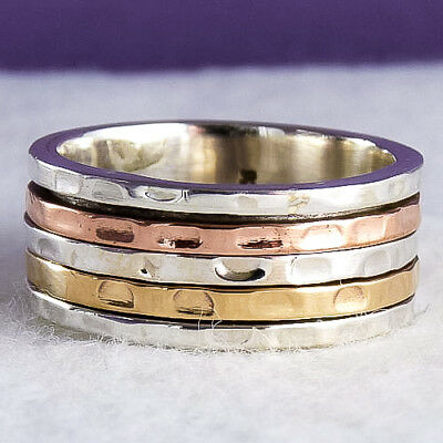 Narrow SilverSari 3-Tone SPINNER Size US 7.75 Ring Solid 925 Stg Silver SPR1049