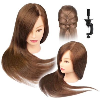 """22""""/24"""" 100% Human Hair Hairdressing Long Head Training Mannequin Makeup+Clamp"""