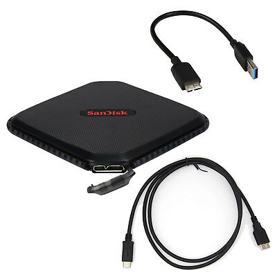 Sandisk 480GB SSD Extreme 500 +1M Type-C to Micro B Data Cable External portable