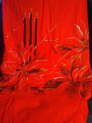 VINTAGE CALIFORNIA HAND PRINTS TABLECLOTH CHRISTMAS POINSETTIA, CANDLES red