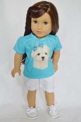 Maltese Puppy Shirt Outfit Fits 18 Inch American Girl Doll Clothes