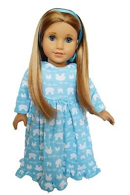 Blue Bunny Doll Nightgown Pajamas Outfit Fits 18 Inch American Girl Doll Clothes