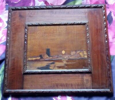 Arts and Crafts Marquetry wood panel, Rowley Gallery W A Chase , Moonrise scene