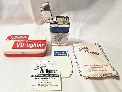 Scripto VU-Lighter CA Tool CO. Complete w/ Tin Bag Papers Never Struck EXC-NMT