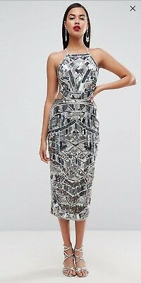 b45d90cb507 ASOS RED CARPET Embellished Backless Strappy Midi Dress UK SZ 12 RRP £150