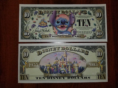 2005 T Series $10 Stitch WITHOUT Barcode Disney Dollar, Uncirculated