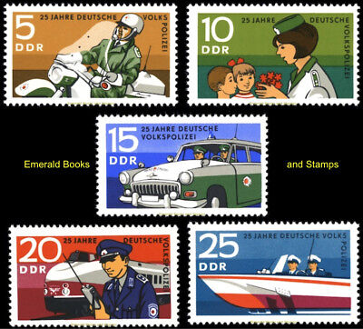EBS East Germany DDR 1970 People's Police Volkspolizei Michel 1579-1583 MNH**