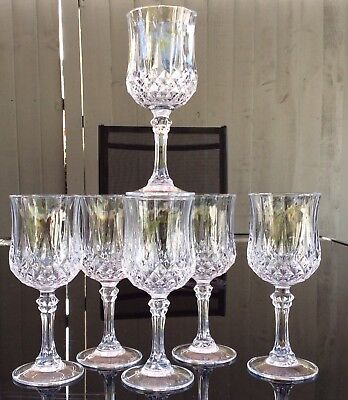 Set Of 6 Cristal d Arques 24% Lead Crystal LONGCHAMP Wine Glasses