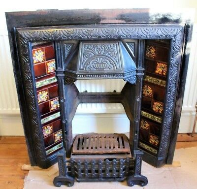 ANTIQUE VICTORIAN CAST IRON FIREPLACE / FIRE SURROUND WITH TILES AND GRATE c1890