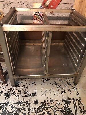 Rational Combi Oven Table / Stand With Shelving Slots Underneath On Wheels