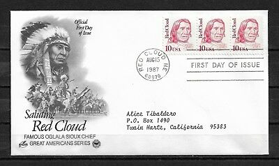USA Cachet FDC 1987 Red Cloud Indian Sioux Chief,VF-XF !! (RS-2)