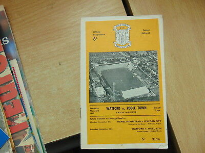 FA Cup 1962/3 Watford v Poole Town  NON LEAGUE IN CUP