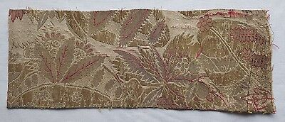 Vintage Gold Metallic Fabric Depicts Stylized Leaves & Blossoms Coral Accents