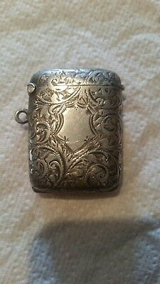 Nice Rare English Antique 1901 Sterling Silver Vesta Case With Photo Compartment