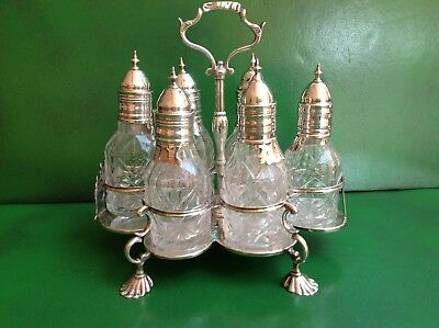 Antique Georgian Silver 6 Bottle Cruet Set - 1761