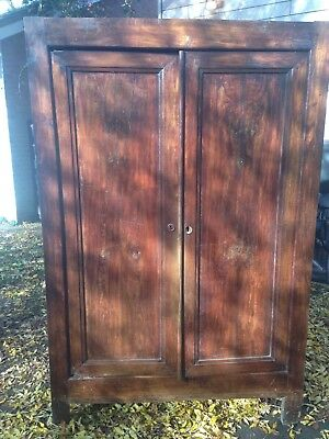 Antique French Armoire/linen Press  Oak Interior