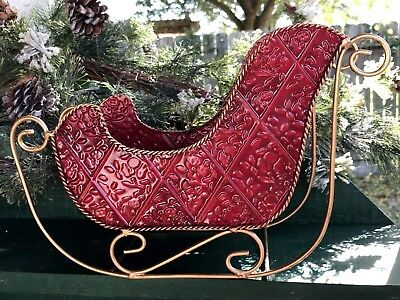 """Metal Christmas Sleigh Red with Gold Trim Tabletop/Mantel 11 1/2"""" L X 7 1/2"""" H"""