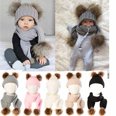 2PCS Baby Boy Girls Winter Warm Pom Bobble Beanie Ski Hat Cap Scarf Scarves YU