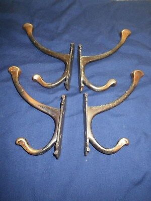 4 Large J Cartland & Son Double Coat Hooks( Architectural Industrial Salvage)