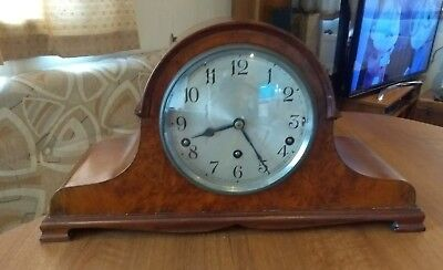 Antique Burr Walnut Garrard Mantel Clock