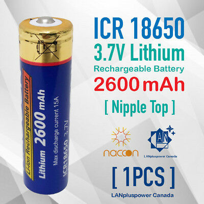 3.7V ICR 18650 Battery 2600mAh Genuine Rechargeable 18650 Nipple Top battery
