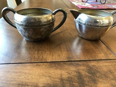 Vintage Silver Sugar Bowl and Creamer set