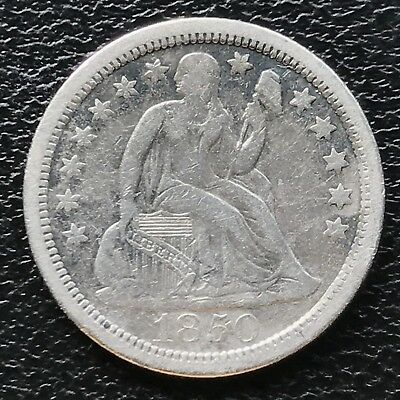 1850 O Seated Liberty Dime XF 10c nice RARE Early Date New Orleans #6644